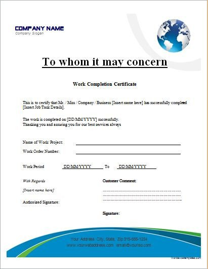 Work pletion Certificates for MS Word