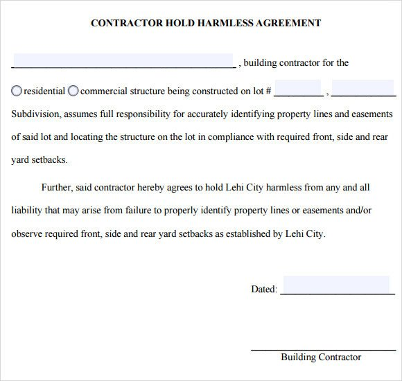 Sample Hold Harmless Agreement 10 Documents in PDF Word