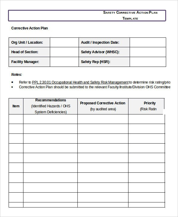 Corrective Action Plan Template 16 Free Sample Example