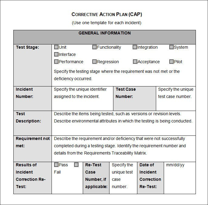 Corrective Action Plan Template Corrective Action Plan Template 22 Free Word Excel