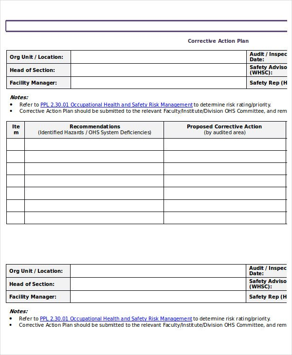 Action Plan Template 15 Emergency Corrective