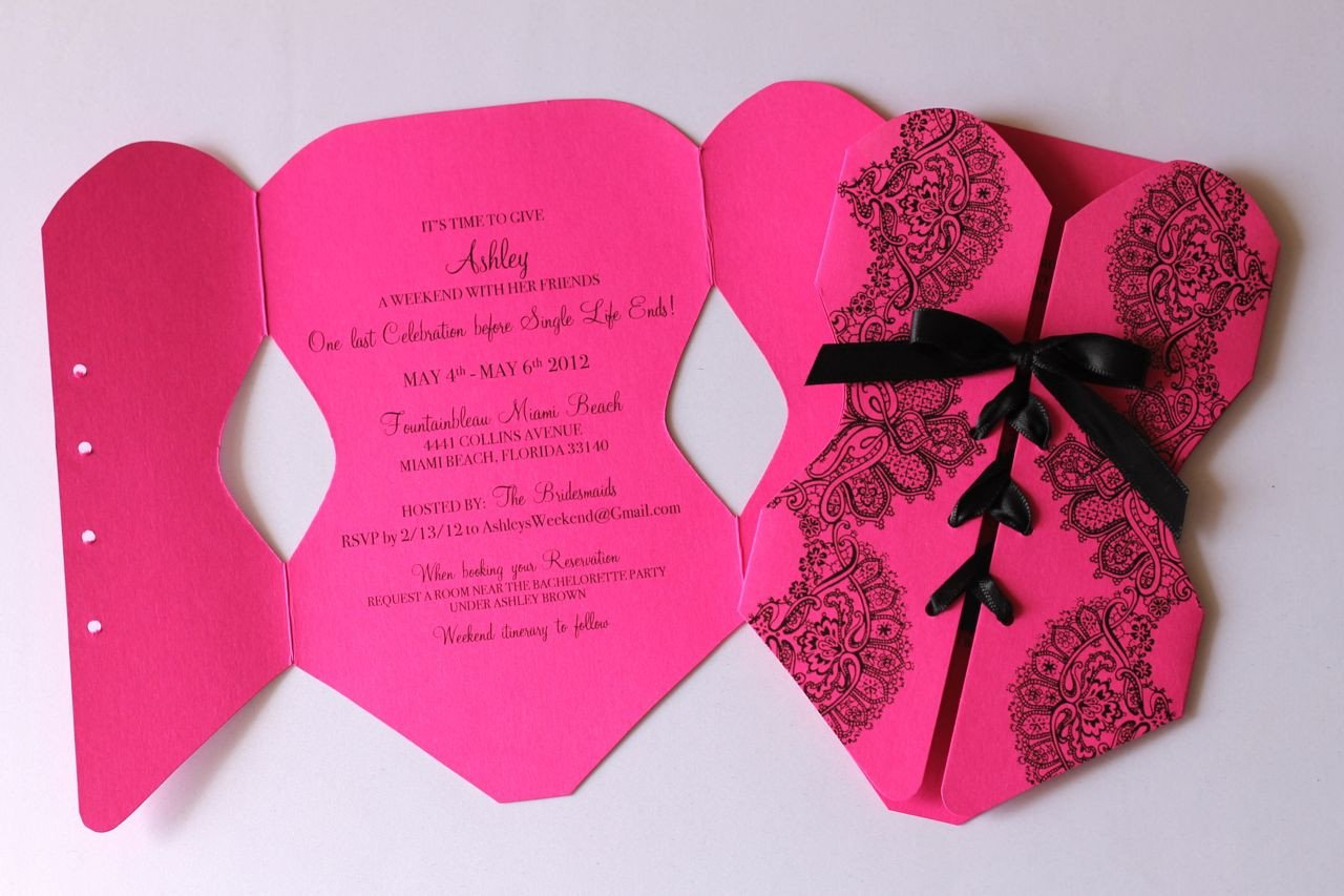 Corset Invitation Template Free Embellished Paperie Corset Lingerie Invitation In Hot Pink