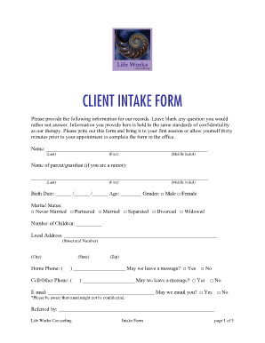Counseling Intake form Template Counseling Intake forms Samples