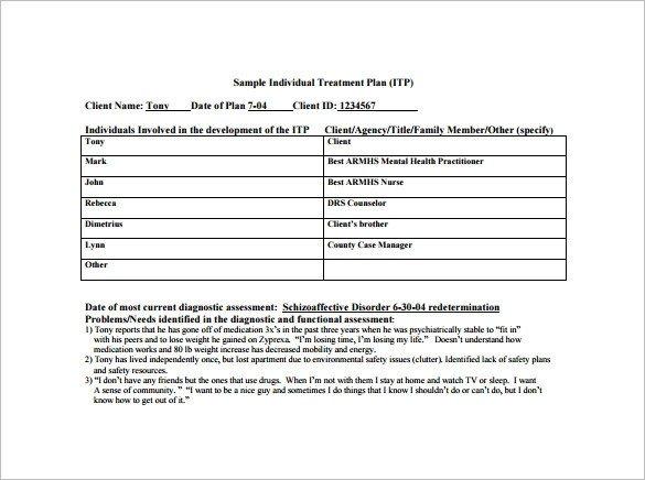 Counseling Treatment Plan Template Pdf 8 Treatment Plan Templates