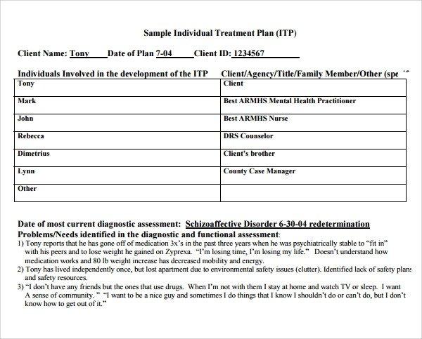 Counseling Treatment Plan Template Pdf Sample Treatment Plan Template 7 Free Documents In Pdf