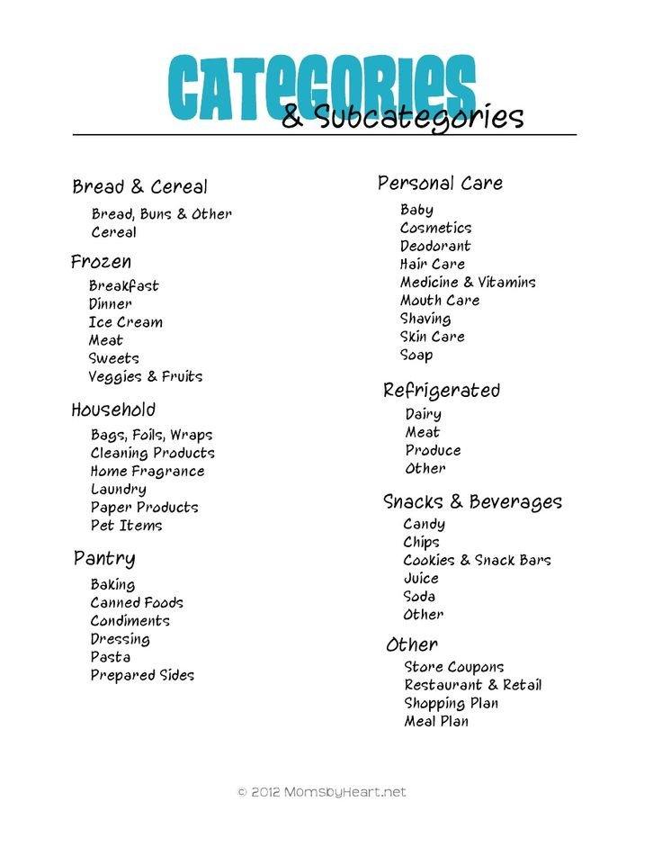 Coupon Binder Categories Template Categories for Coupon Binder Miscellaneous
