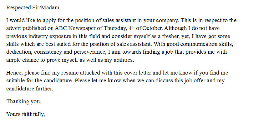 Cover Letter No Experience Cover Letter for Sales assistant with No Experience