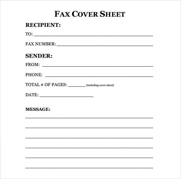 Cover Sheet Template Word Sample Fax Cover Sheet 10 Examples & format