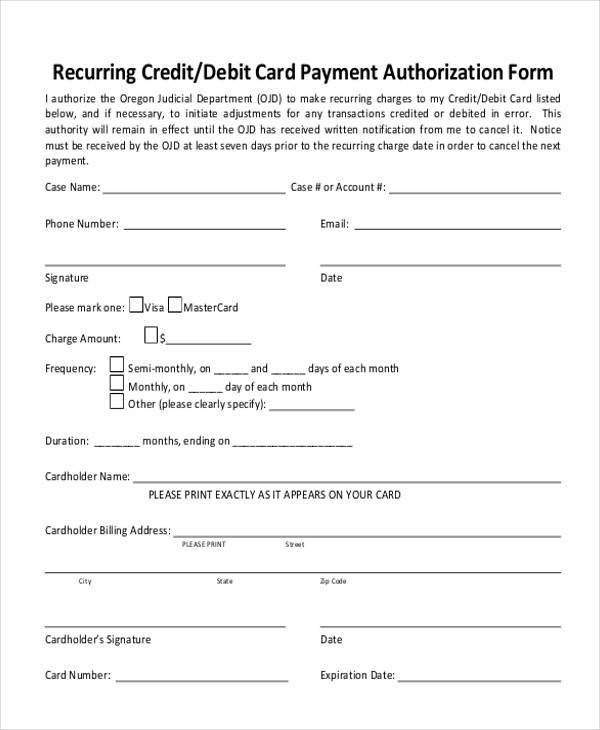 Credit Card Authorization Template Authorization form Templates