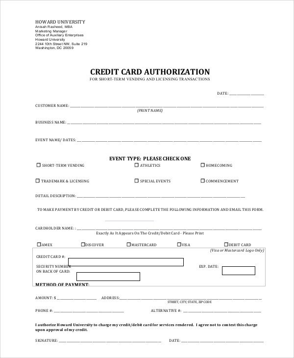 Credit Card Authorization Template Credit Card Authorization form Sample 8 Examples In