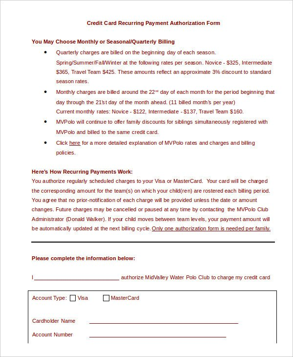 Credit Card Authorization Template Credit Card Authorization form Template 10 Free Sample