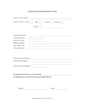 Credit Card Authorization Template Credit Card Authorization form Template