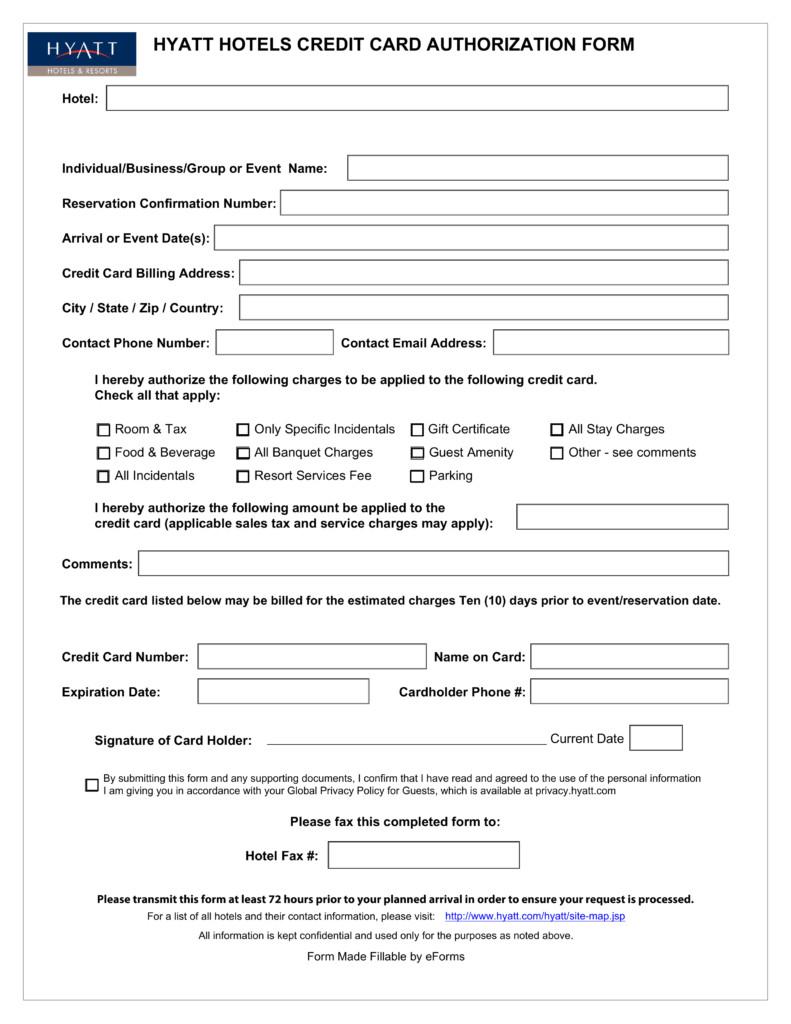 Credit Card Authorization Template Free Hyatt Credit Card Authorization form Pdf