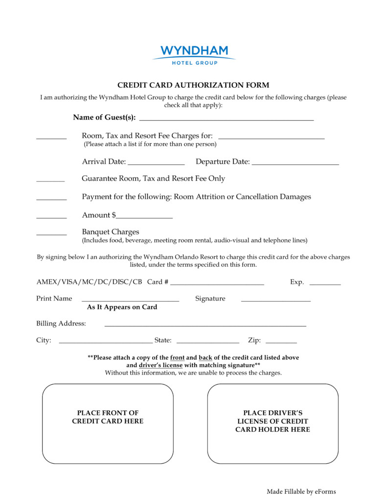 Credit Card Authorization Template Free Wyndham Hotels Credit Card Authorization form Word