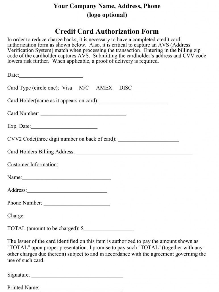 Credit Card Authorization Template How to Properly Craft A Credit Card Authorization form