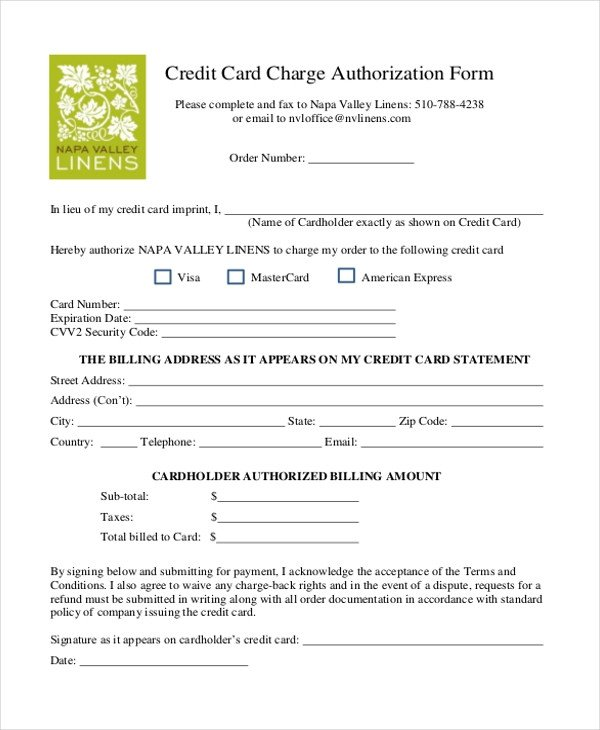 Credit Card Authorization Template Sample Credit Card Authorization form 12 Free Documents