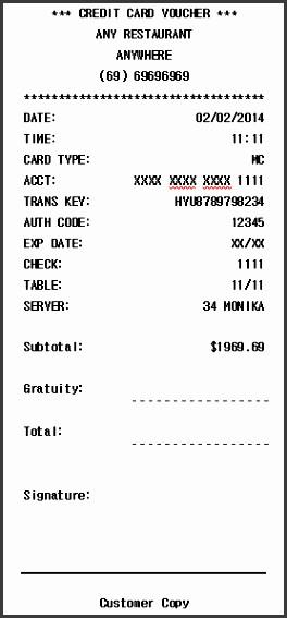 Credit Card Receipt Template 11 Credit Payment Receipt Template Sampletemplatess