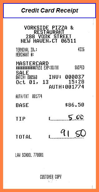 Credit Card Receipt Template 9 Credit Card Receipt