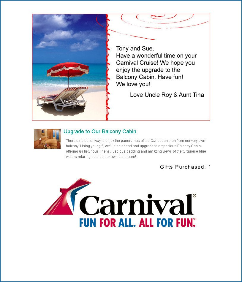 Cruise Gift Certificate Template Carnival Honeymoon Registry