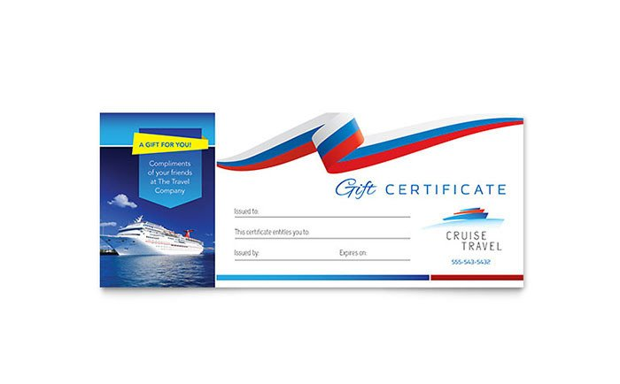 Cruise Gift Certificate Template Cruise Travel Gift Certificate Template Design