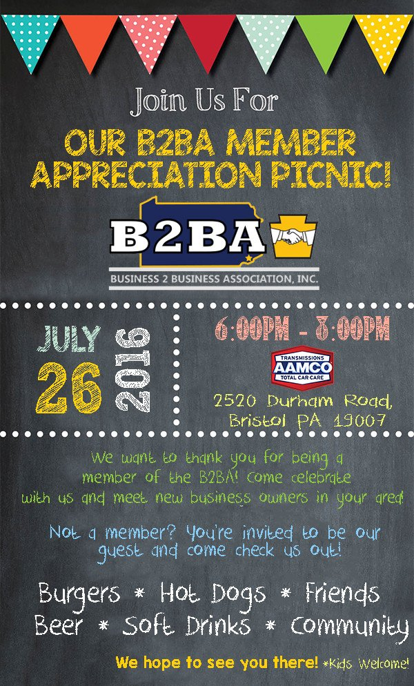 Customer Appreciation Flyer Template You're Invited to the B2ba Members Picnic July 26th 6pm