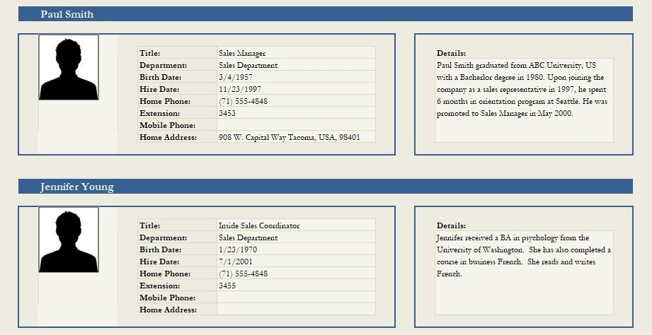 Customer Profile Template Excel Professional Employee Profile Template Excel and Word