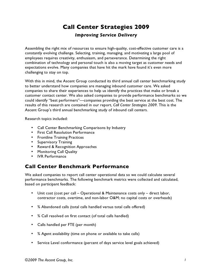 Customer Service Scripts Templates Inbound Call Center Strategies Benchmarking Results