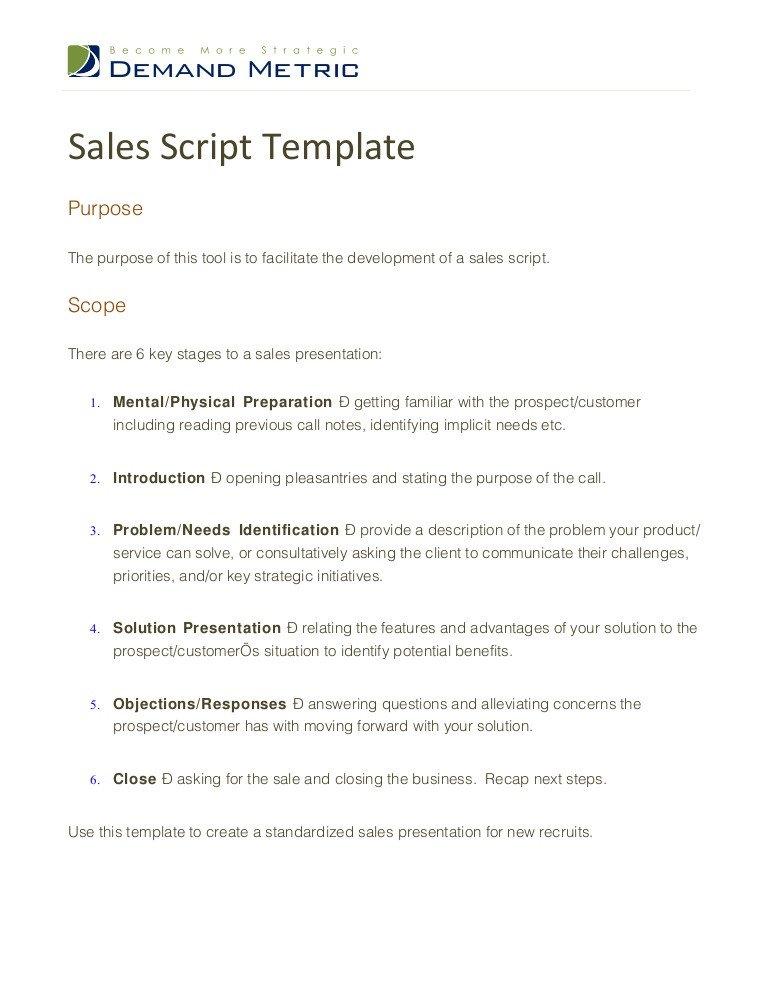 Customer Service Scripts Templates Sales Script Template