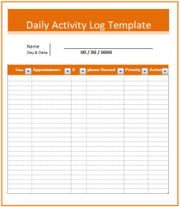 Activity Log Templates 2 MS Word & Excel