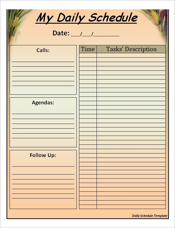 Daily Schedule Planner Template Sample Printable Daily Schedule Template 17 Free