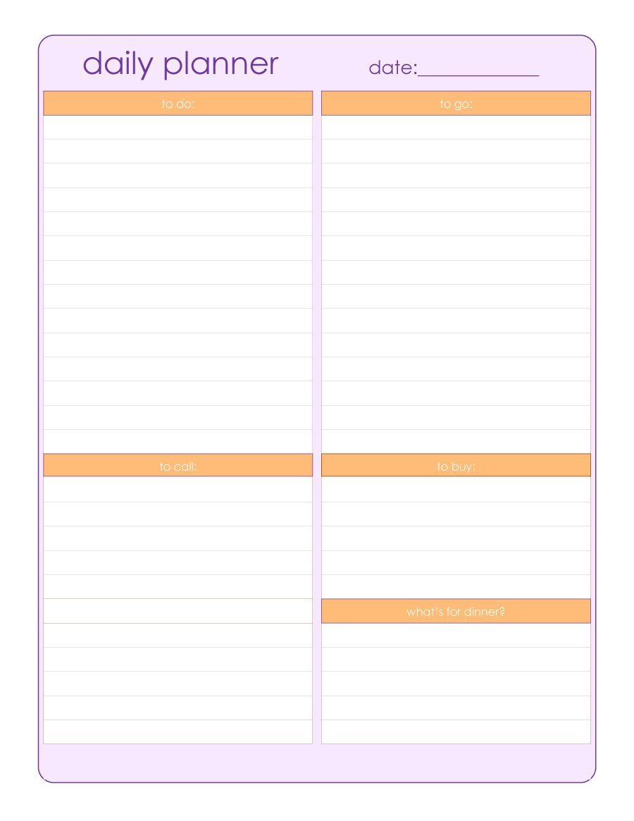 Daily Schedule Template Printable 40 Printable Daily Planner Templates Free Template Lab