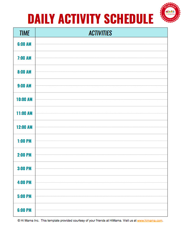 Daily Schedule Template Printable Daycare Daily Schedule Template