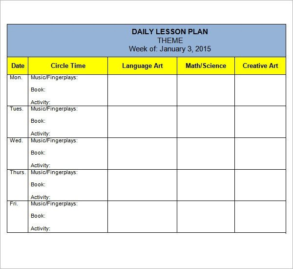 Preschool Lesson Plan Template 10 Download Free