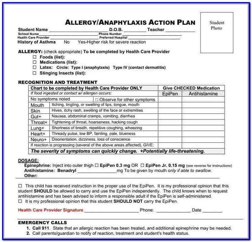 Db450 form Part C asthma Action Plan form for School Nyc form Resume
