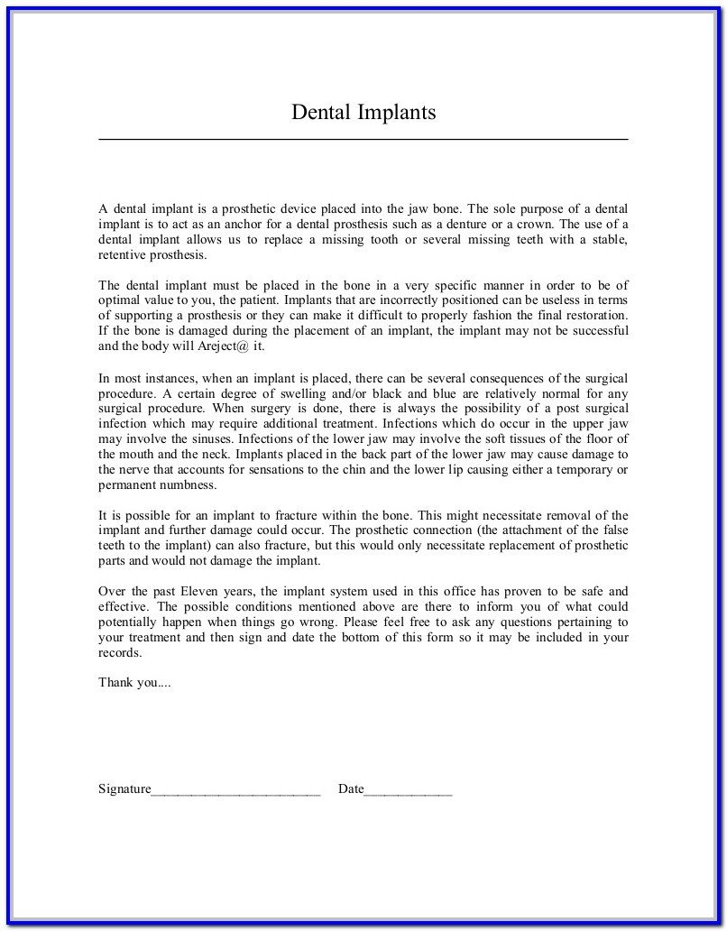Db450 form Part C Dental Implant Removal Consent form form Resume
