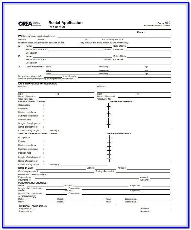 Db450 form Part C Standard Rental Application form form Resume Examples