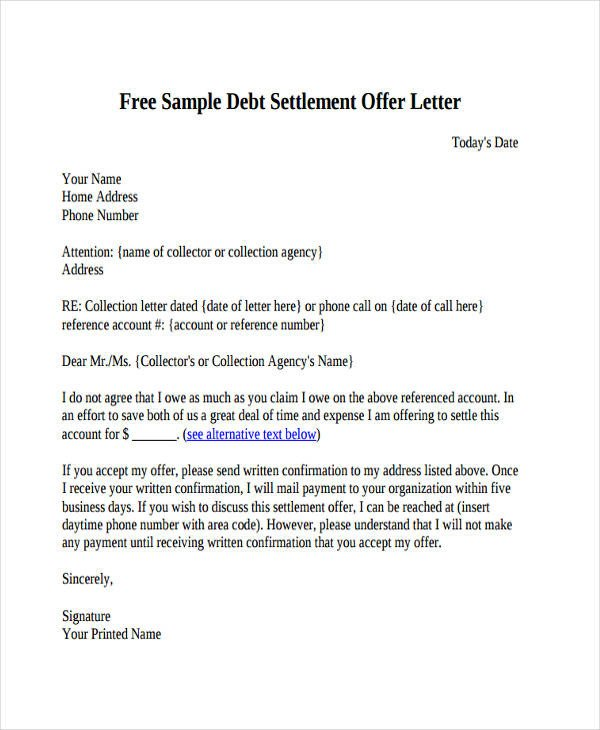 Debt Settlement Agreement Template 66 Fer Letter Templates Word Google Docs Apple
