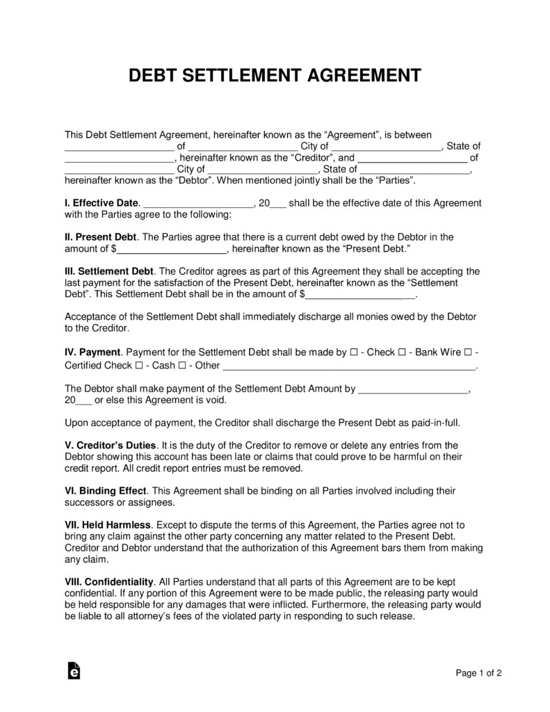 Free Debt Settlement Agreement Template Sample Word
