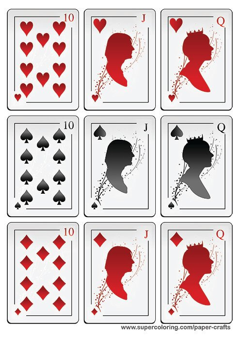 Deck Of Cards Template Deck Of Playing Cards with Silhouettes Printable Template