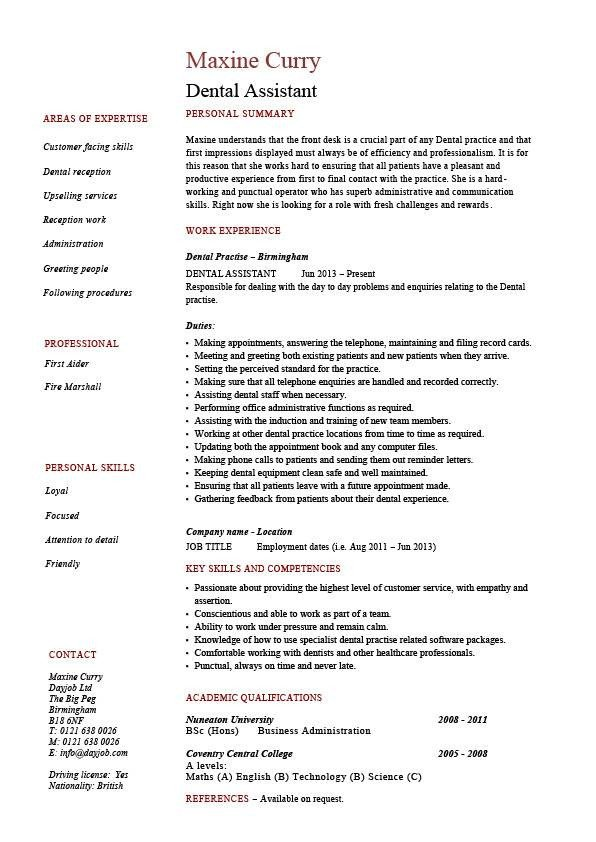Dental assisting Resume Templates Dental assistant Resume Dentist Example Sample Job