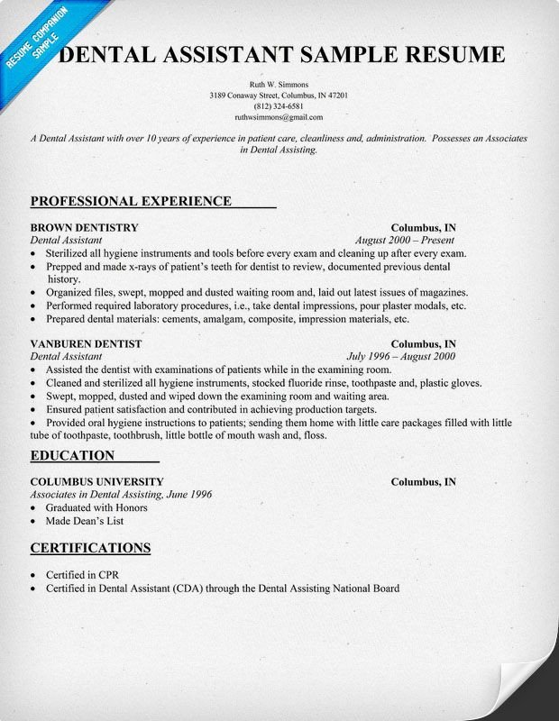 Dental assisting Resume Templates Dental assistant Resume Dentist Health Resume Panion