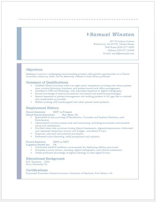 Dental assisting Resume Templates Dental assistant Resume – Microsoft Word Templates