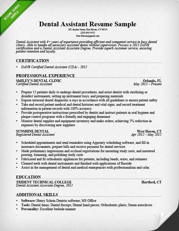 Dental assisting Resume Templates Dental assistant Resume Sample & Tips