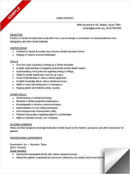 Dental assisting Resume Templates Dental assistant Resume Sample Limeresumes