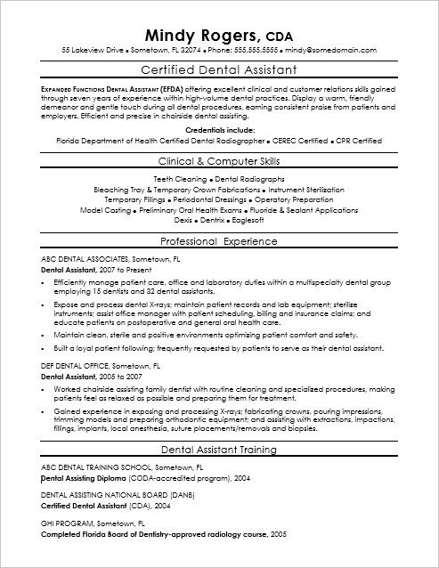 Dental assisting Resume Templates Dental assistant Resume Sample