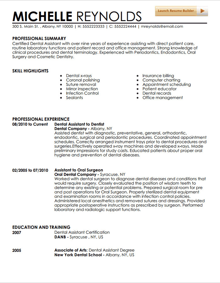 Dental assisting Resume Templates Dental assistant Resume Template