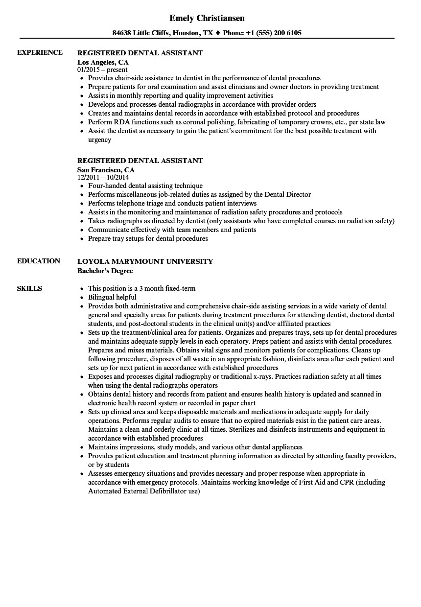 Dental assisting Resume Templates Registered Dental assistant Resume Samples