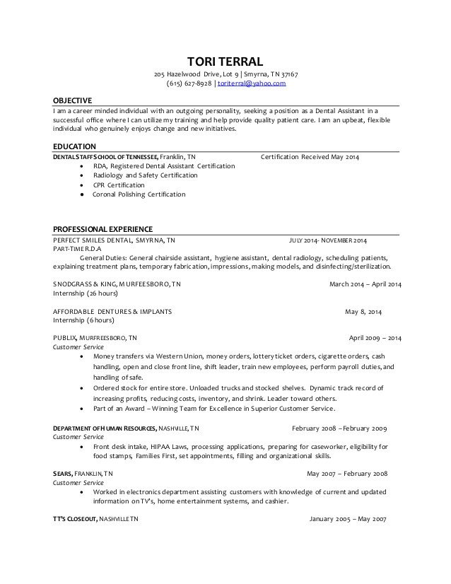 Dental assisting Resume Templates tori Terral Dental assistant Resume 4