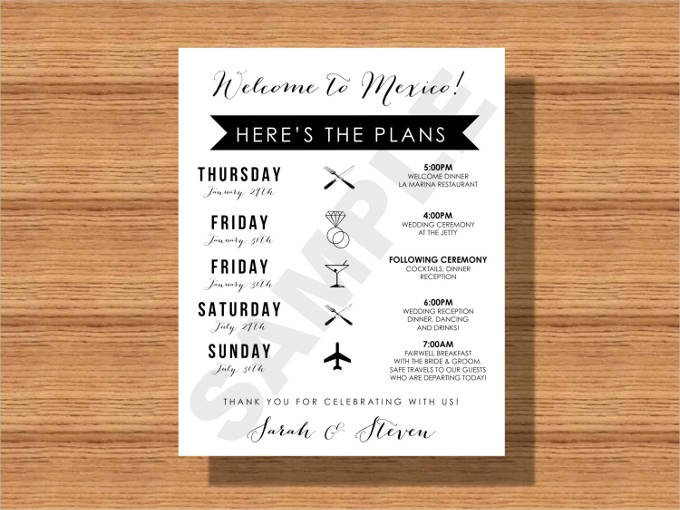 44 Wedding Itinerary Templates DOC PDF PSD