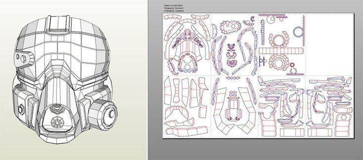 Destiny Hunter Armor Template Destiny Pepakura Files within